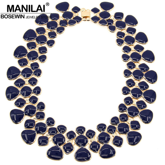MANILAI Fashion Women Collar Choker Necklaces New Enamel Drop glaze Chunky Alloy Bib Statement Necklaces Maxi Jewelry CE3026