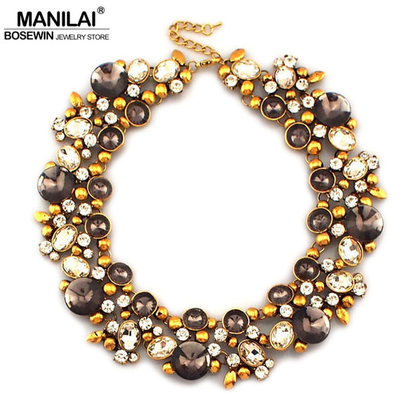 Metal Rhinestones Chokers Crystal Bib Collar Statement Necklace