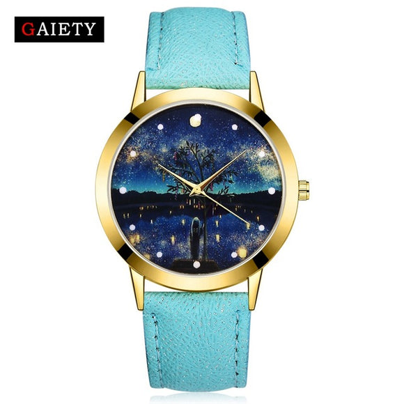 Women's Gold Luxury Blue Sea Starry Fashion Dial Dress Quartz Watch Clock Ladies Leather Bracelet Gift Watch Electronic Gift