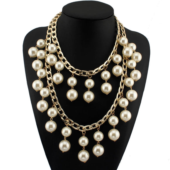 Double Chains Tassel Cross imitation Pearl Beads