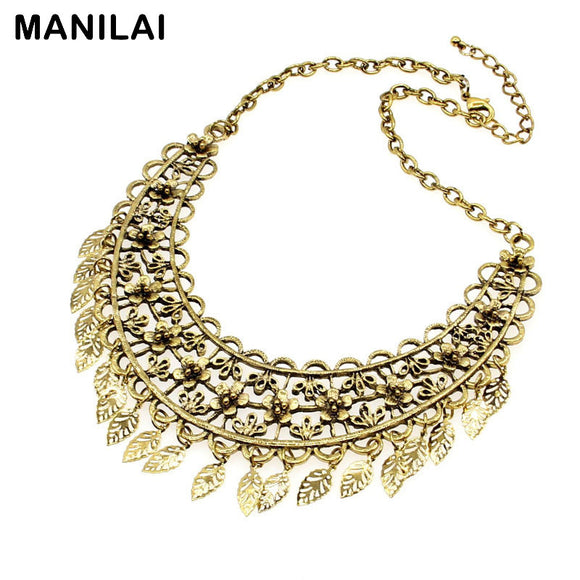 Vintage Maxi Necklace Fashion Metal Flower Leaf