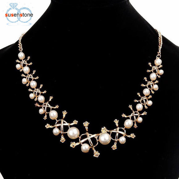 Pearl Metal Flower Sweater Chain Necklace Bib Necklace