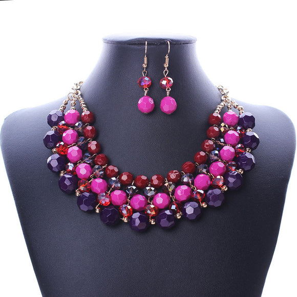 Multiple Round Beaded Torsade Bib Choker Collar Necklace Earrings Set