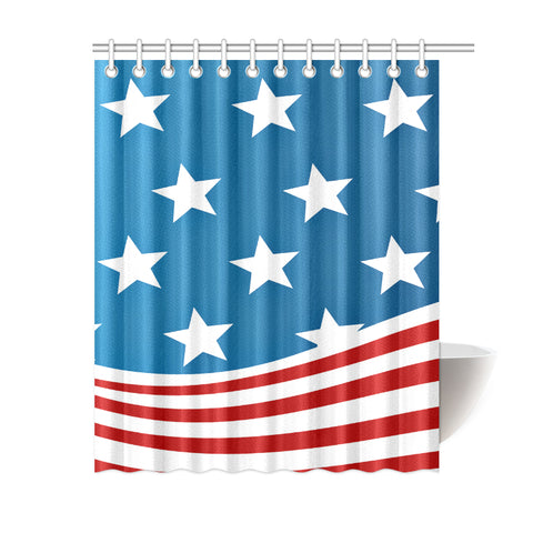 "Beautiful American Flag Shower Curtain 60""x72"""