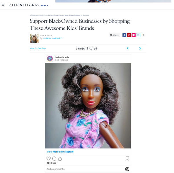 The Fresh Dolls was Featured with Black Owned Businesses for Kids on PopSugar.com!