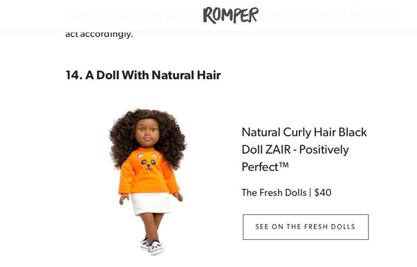 romper.com feature on unique toys that help teach kids about race diversity and inclusion