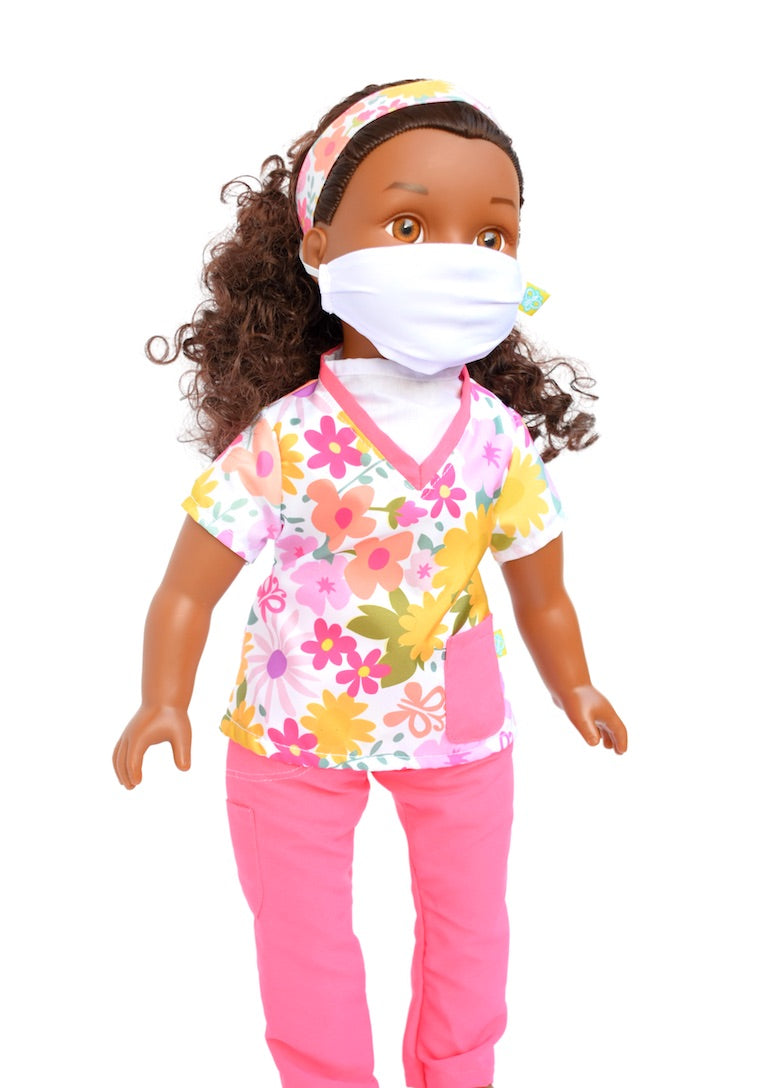 18 inch baby doll pink scrubs with flowers