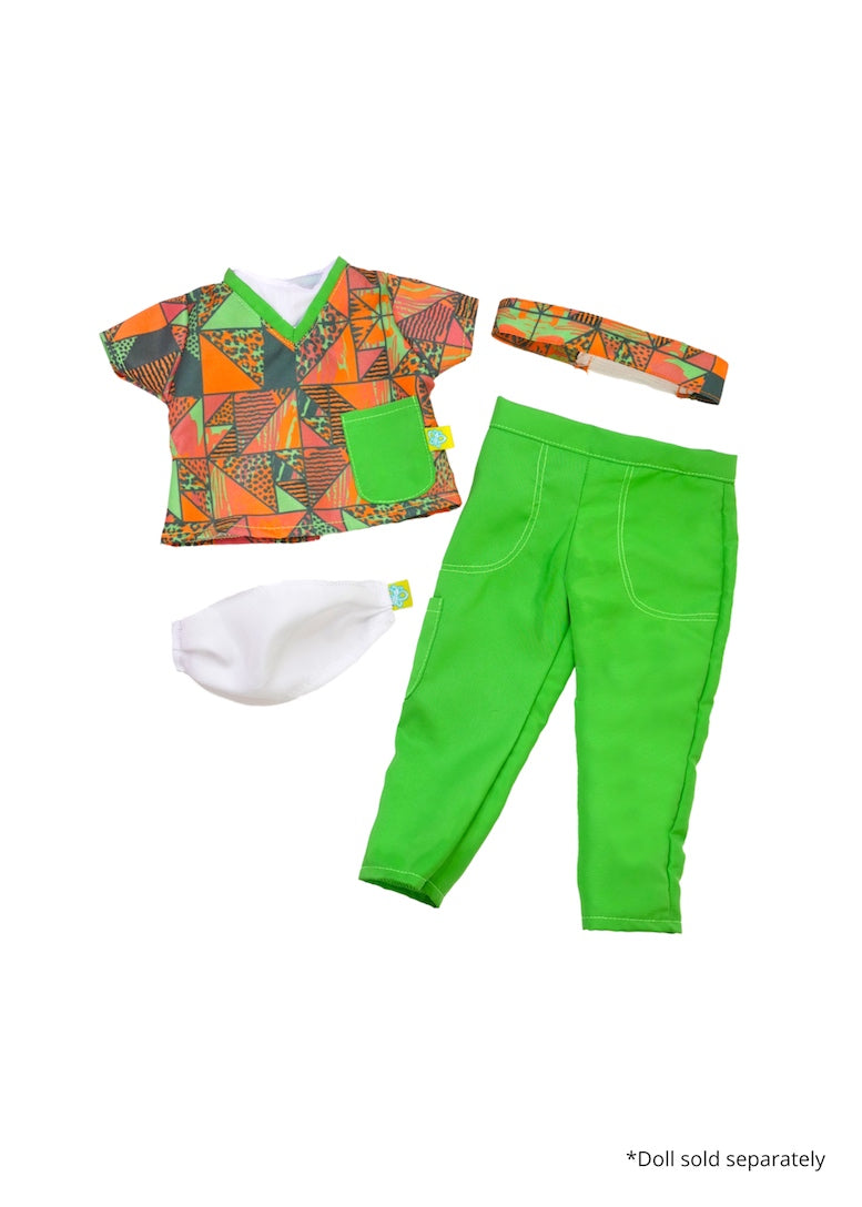18 inch doll essential workers scrubs green african print