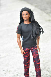 black male fashion doll red camo pants fashion pack