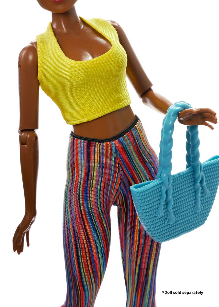 A fitness doll yellow tank top and yoga pants along with a blue purse in the set.