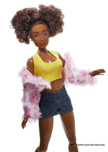 afro fashion doll wearing yellow top pink/white jacket and jean shorts