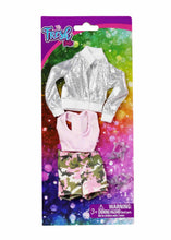 fashion doll silver jacket pink top and camo shorts and silver high heels packed