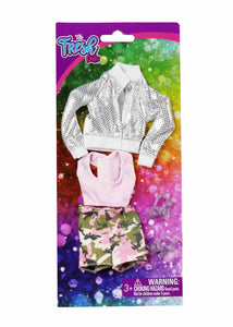 SPARKLE N CAMO Jacket & Pink Shorts Set Doll Fashion Pack