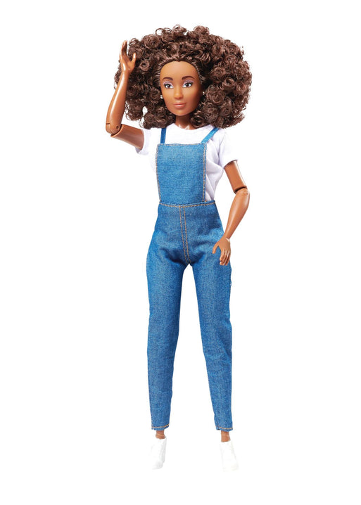 brown curly afro hair fashion doll wearing overalls