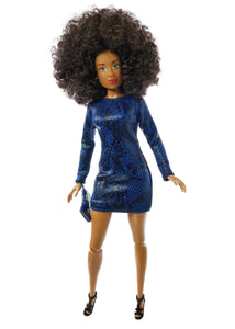 black curly afro hair fashion doll wearing dark blue dress with dark blue purse and black high heels
