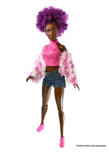 black dolls fashion doll clothes hot pink top denim shorts