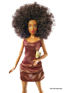 black dolls mini dress doll clothes party dress afro curly hair doll