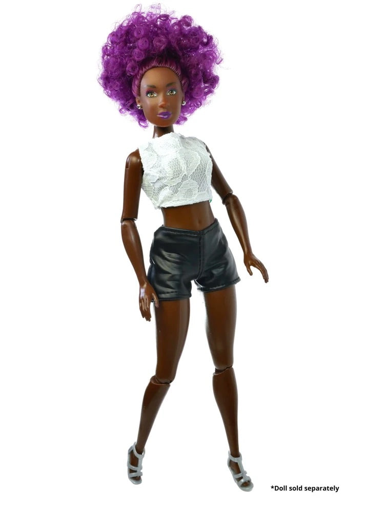 purple hair doll with white top and leather shorts.
