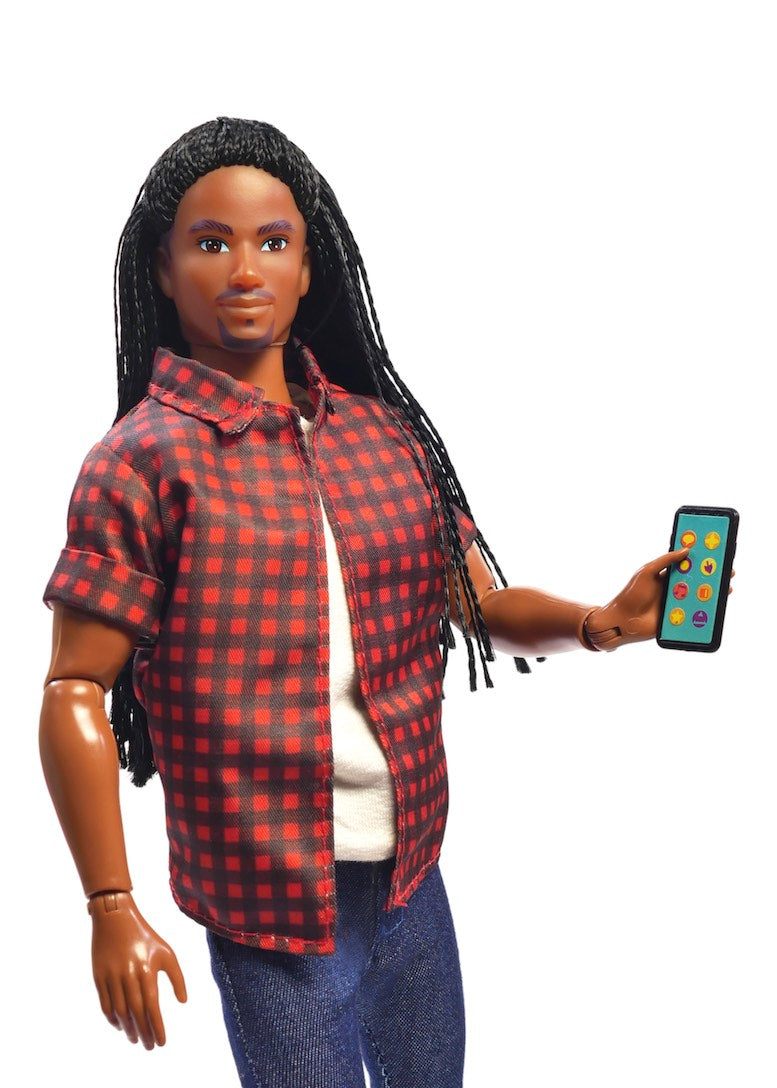 black male fashion doll phone accessory laptop fresh squad