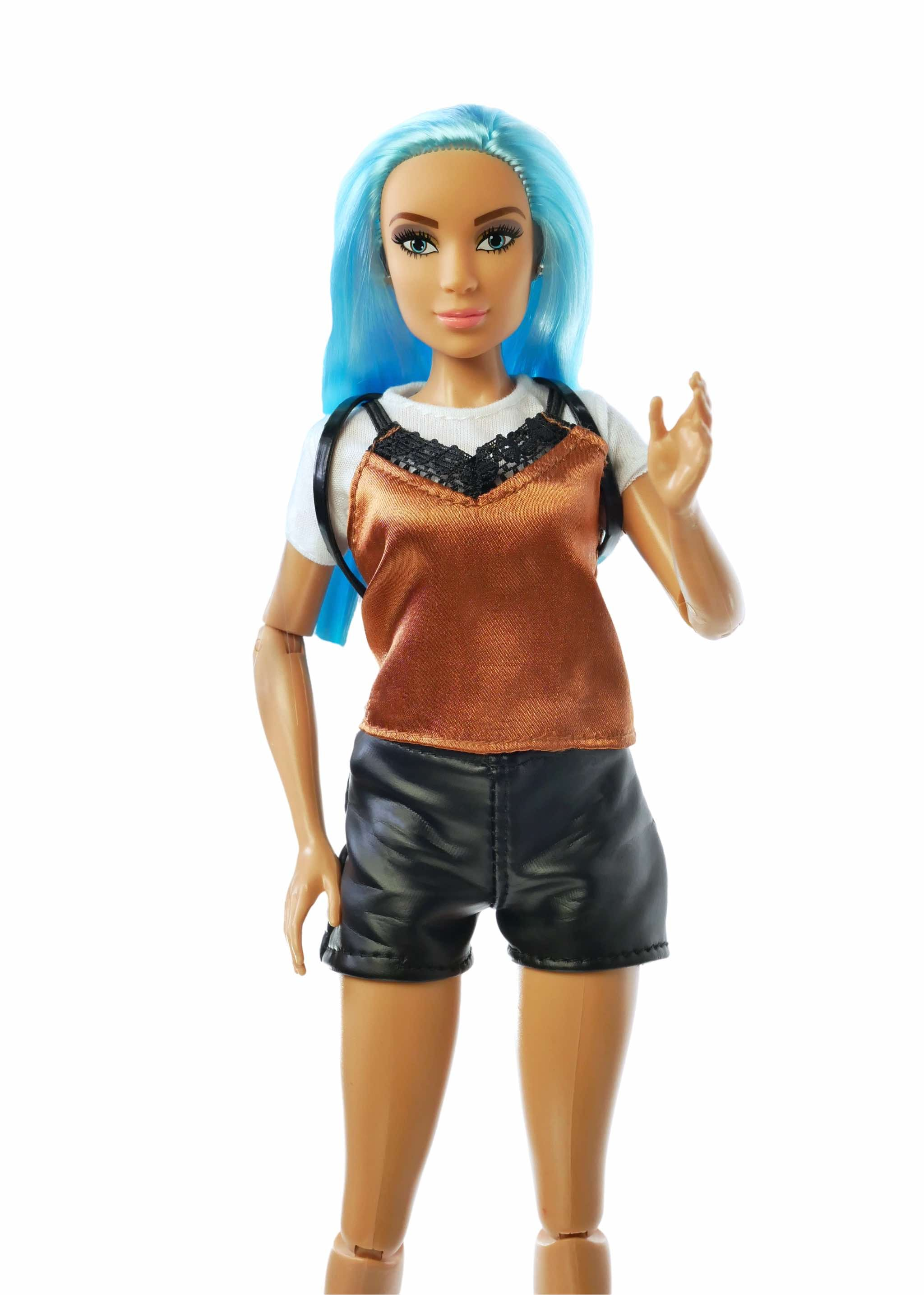 Blue hair doll wearing lace top and leather shorts.