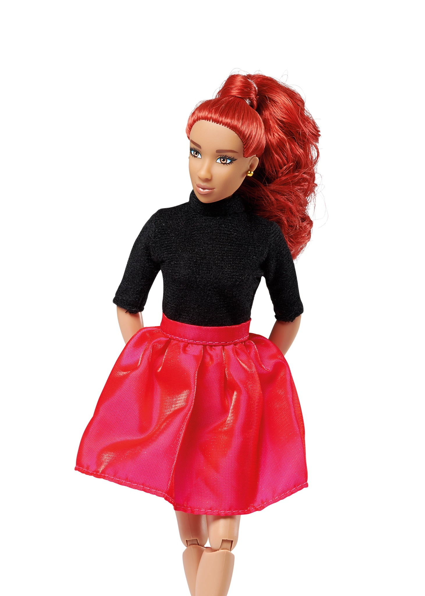 red hair freash doll wearing black shirt and red/pink skirt