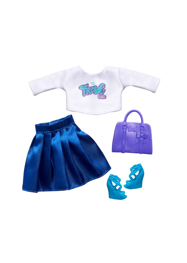 doll clothing blue skirt white crop top purple bag
