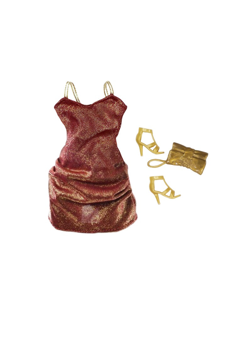 curvy fashion doll mini bronze gold dress accessories
