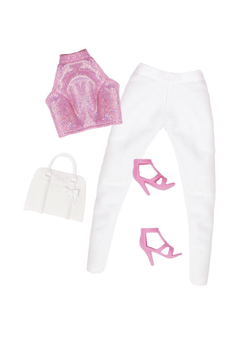 curvy fashion doll pink glitter top white pants shoes