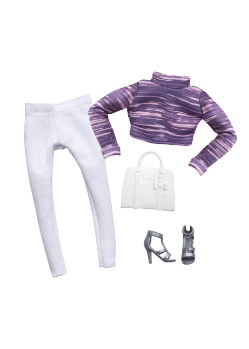 doll clothes purple top white pants bag grey shoes