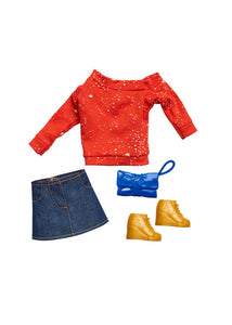 """NEW"" WISHING ON A STAR Red Top & Denim Skirt Doll Fashion Pack"