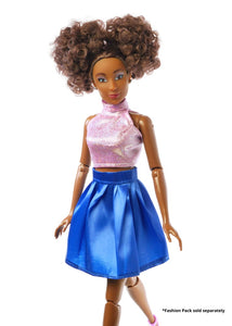 cute black dolls pink shimmer top blue skater skirt the fresh dolls