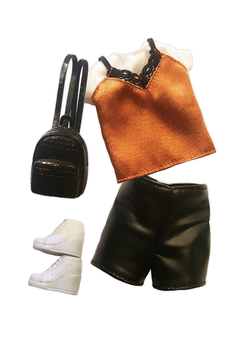 a lace top and leather shorts along with small back pack and white shoes.