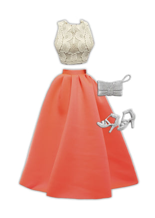 fashion doll white dress with pink skirt and sliver purse and high heels.