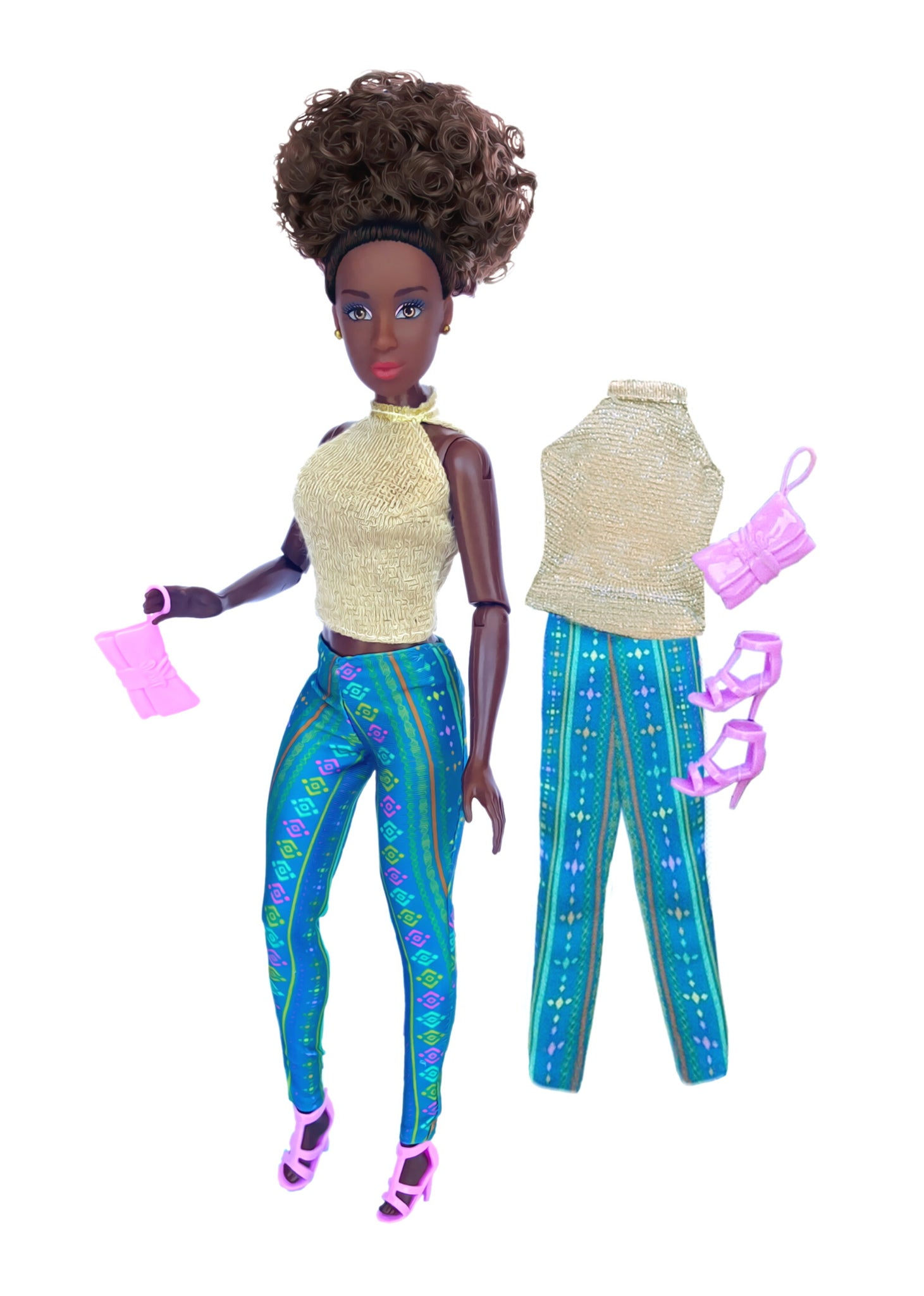 fresh dolls in gold top african print pants