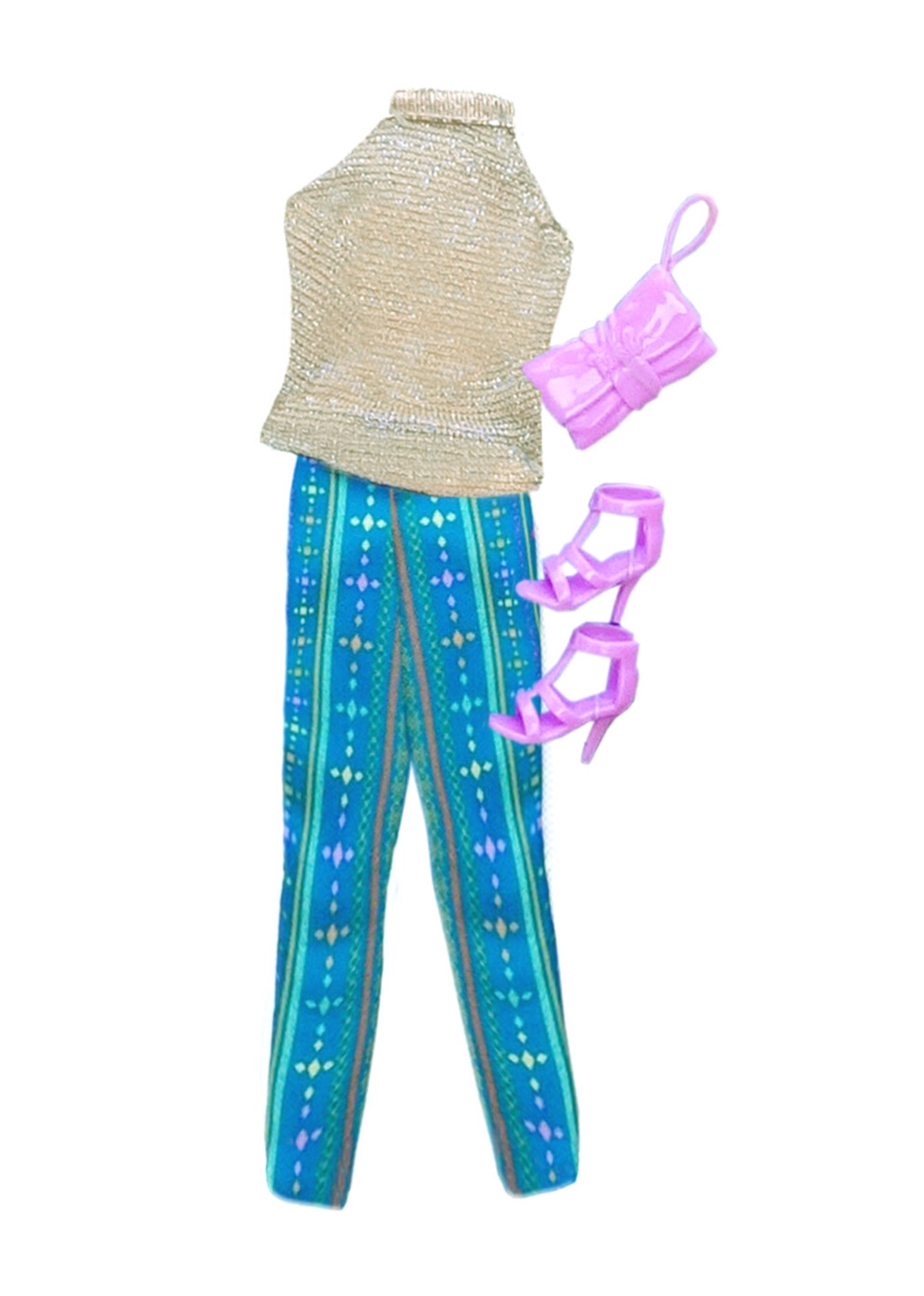 GLITTER Gold Top & Afro Print Pants Doll Fashion Pack