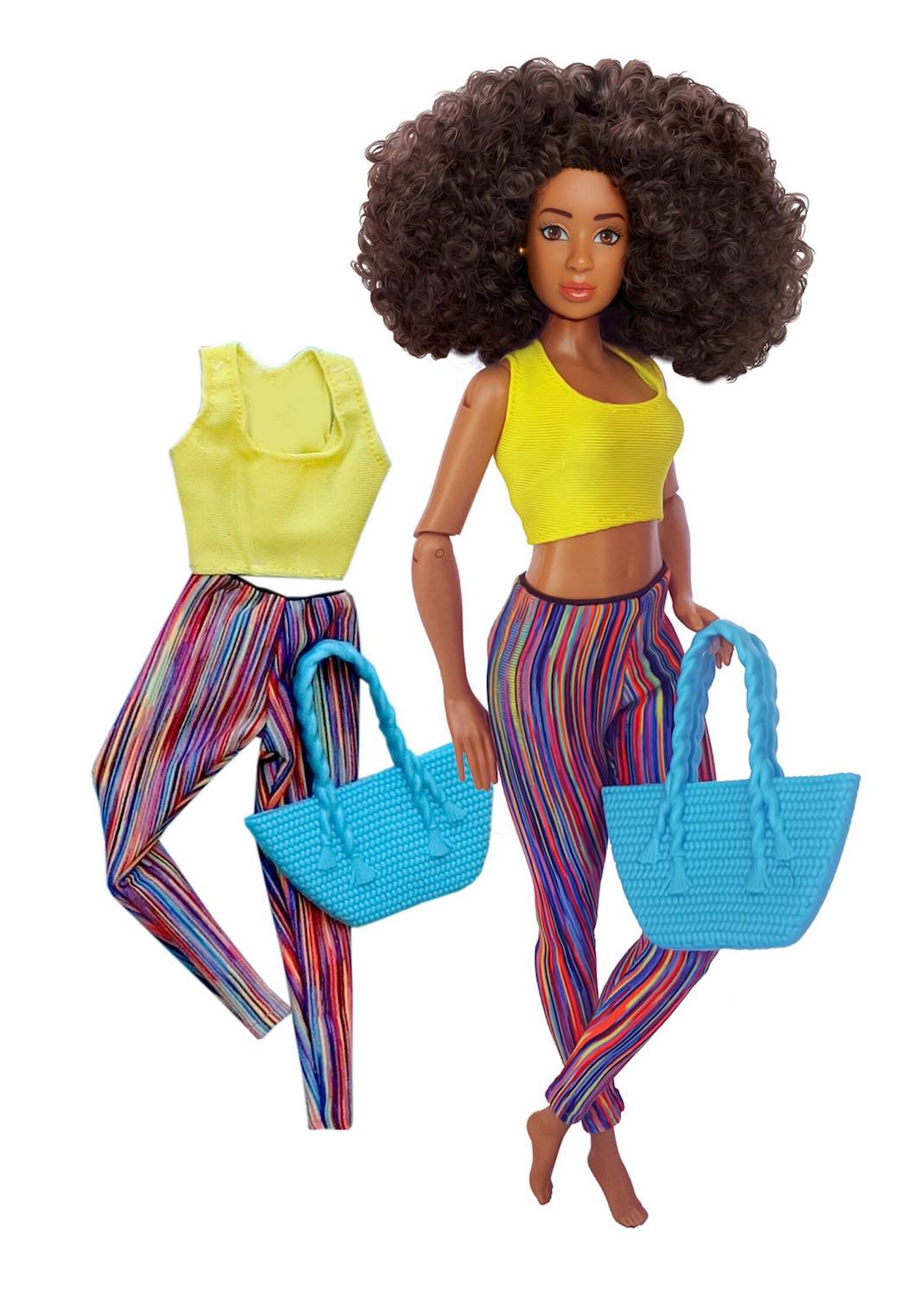 black fashion doll workout doll clothes fitness yoga pants