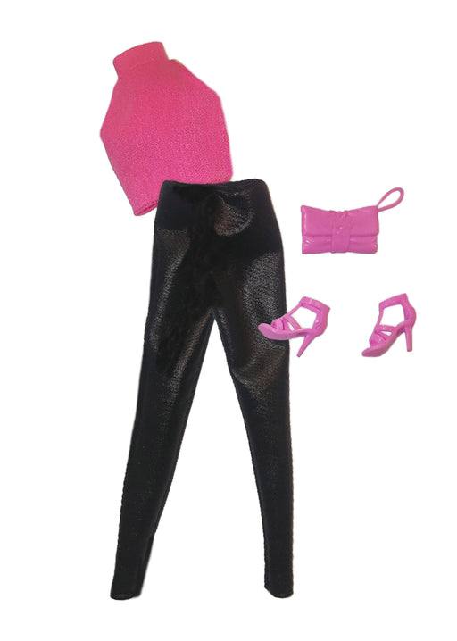 pink top with black pants and pink purse and shoes fashion doll