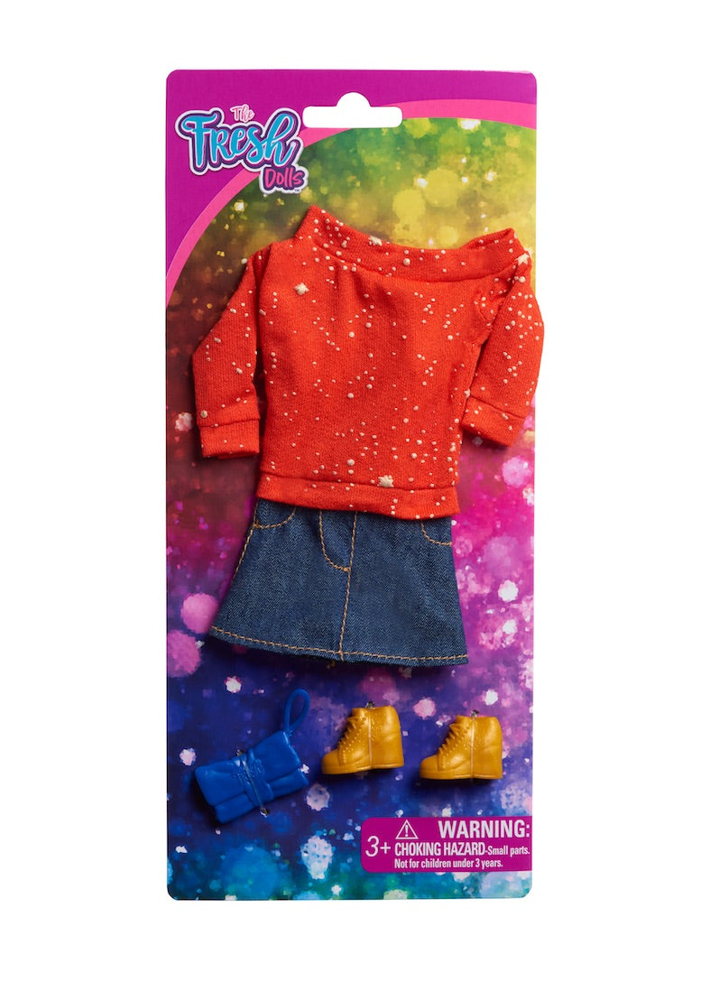 doll clothes fashion pack red off shoulder top denim skirt