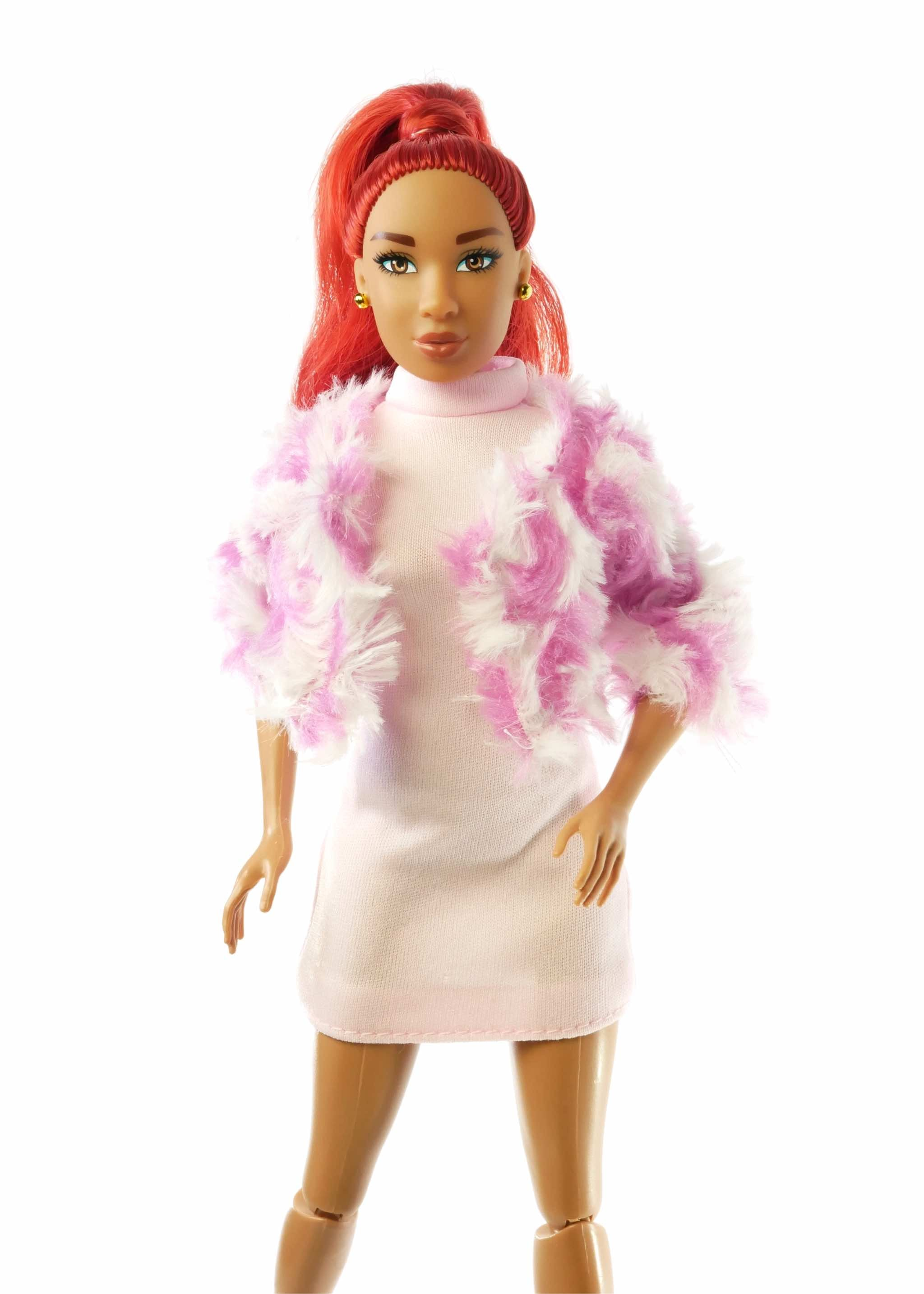 curvy fashion doll pink faux fur coat doll clothes