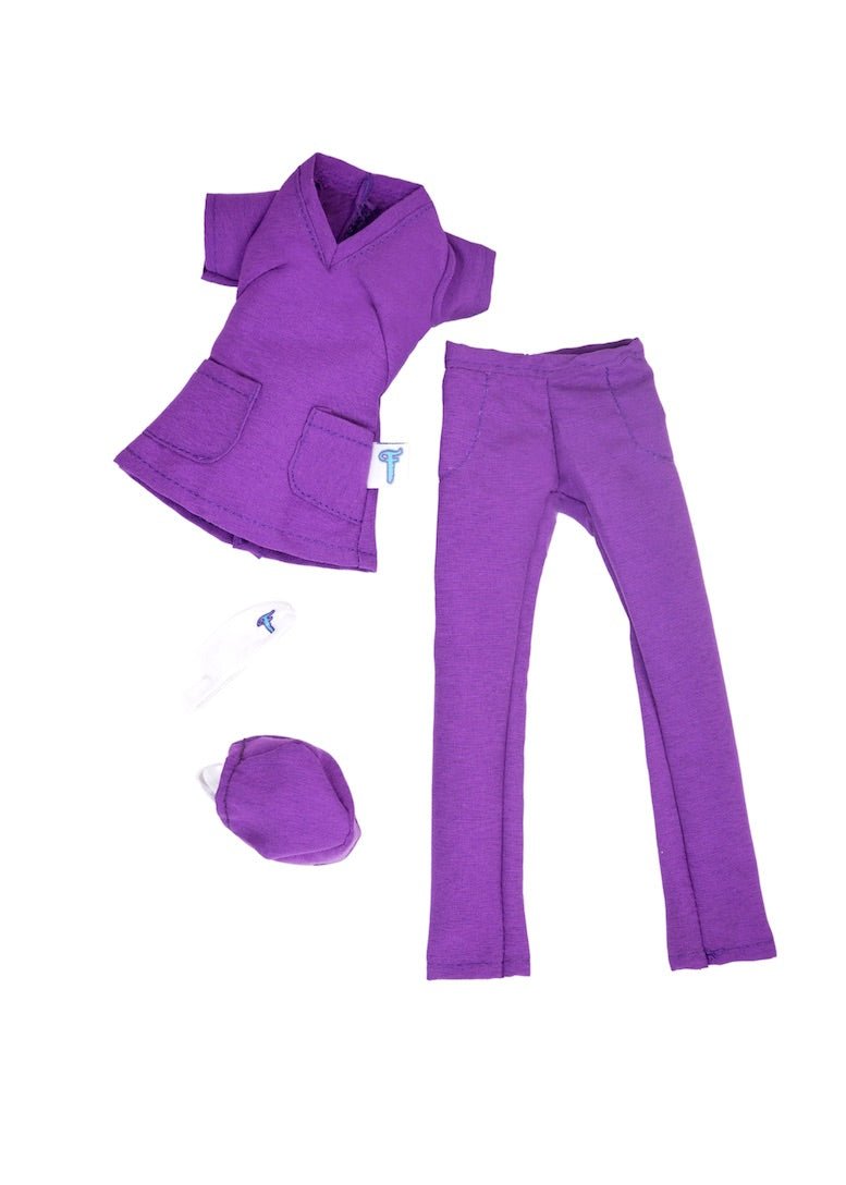 fashion doll clothes doctor scrubs uniform purple