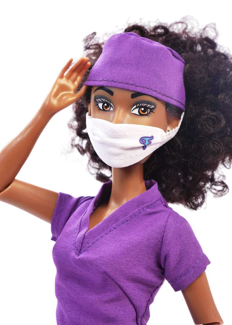fashion doll purple scrubs face mask fresh dolls