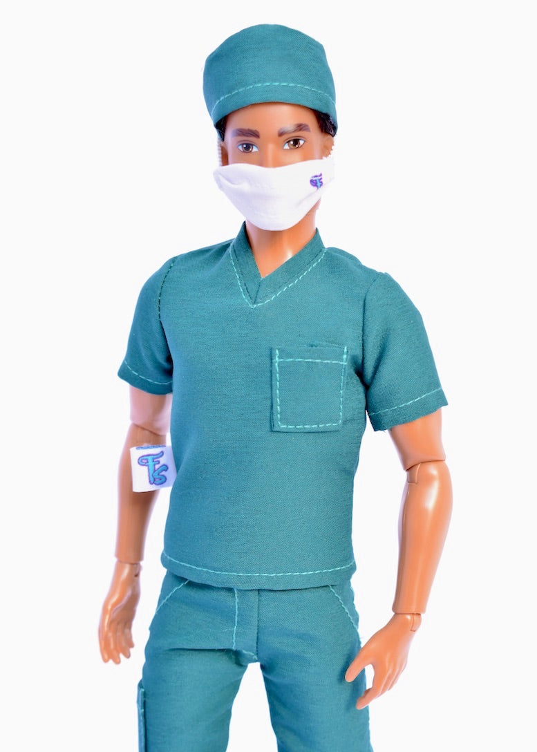 male fashion doll face mask and scrubs