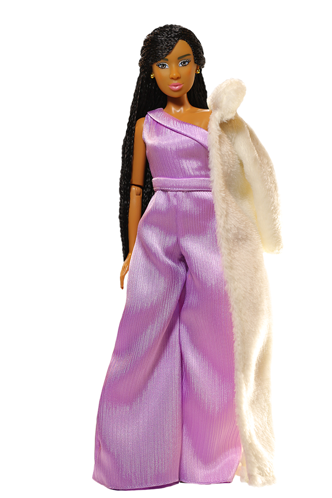fashion doll wearing pink one shoulder dress with light pink fur coat