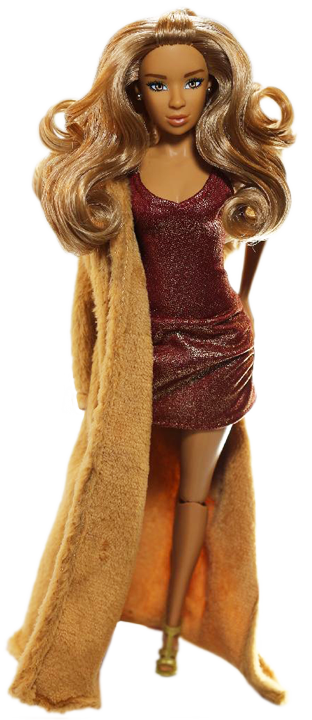 a bright brown hair fashion doll with dress wearing a fur coat.