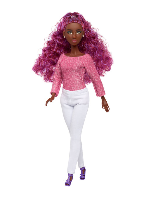 lynette black fashion fresh doll purple ponytail