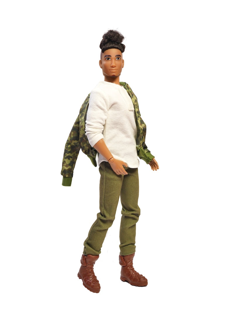 mixed race male fashion doll fresh squad camo jacket