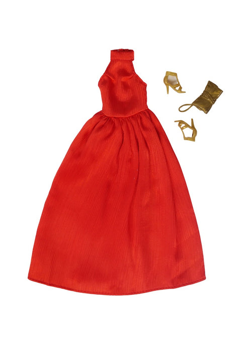 red carpet fashion doll dress gown gold shoes fresh dolls