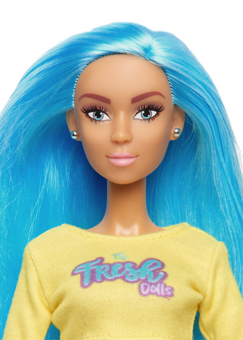 blue hair fashion doll with long hair fresh dolls