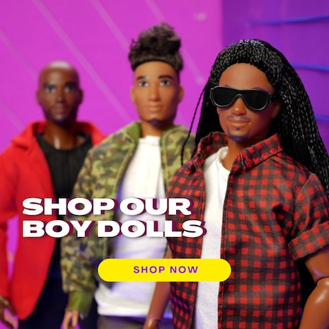 Shop our Black male fashion dolls, the Fresh Squad.
