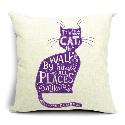Cartoon Cats Pillow Cases purple cat